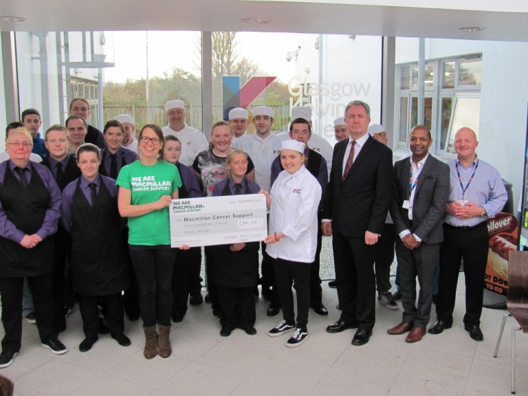 Proud staff and students presented the cheque at a ceremony at the College's East End campus