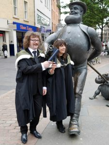Anne Walker and Inness Thomson with Desperate Dan